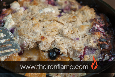 Dutch Oven Blueberry Peach French Toast